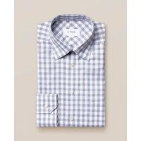 Blue gingham cotton-linen shirt