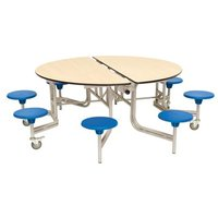 Spaceright Round Mobile Folding Secondary School Dining Table Maple with 8 Seats - 735mm High