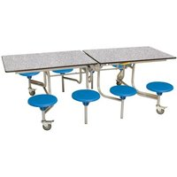Spaceright 8 Eight Seat Rectangular Mobile Folding Primary School Dining Table - Blue Grey