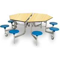 Spaceright 8 Seat Octagonal Mobile Folding Secondary School Dining Table - Maple