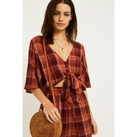UO Melissa Check Tie-Front Blouse, red