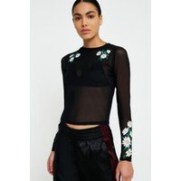UO Daisy Embroidered Mesh Long Sleeve Shirt, black