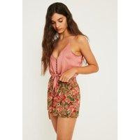 UO Hawaiian Floral Shirred Beach Shorts, red