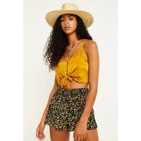 UO Ditsy Floral Black Shirred Beach Shorts, black