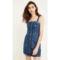 UO Denim Button-Through Pinafore Dress, blue