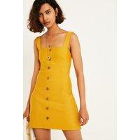 UO Sandy Button-Through Slip Dress, yellow