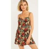 UO Black Floral Ladder Back Playsuit, black
