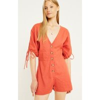 UO Tabby Linen Playsuit, red