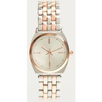 classic rose gold silver link watch, rose