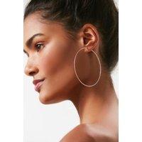 Sterling Silver Plated Large Hoop Earring, silver