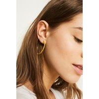 Large Fine Beaded Hoop Earrings, yellow