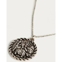 St. Christopher Silver Pendant Necklace, silver