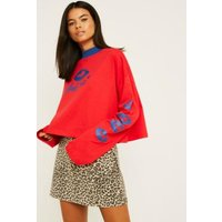 Lazy Oaf Feed Me Red Long-Sleeve Crop Top, red