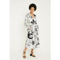 MM6 Scribble Print Wrap Dress, white