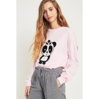 NICOPANDA Panda Oversized Long Sleeve T-Shirt, Pink