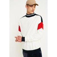 Loom Off-White and Navy Tipped Mock Neck Jumper, White