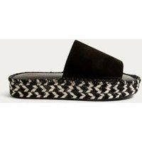 UO Emmi Espadrille Mule Flatform Sandals, Black & White