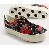 Converse One Star Floral and Polka Dot Platform Trainers, black