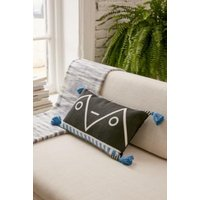 Geo Blue Tassel Cushion, black