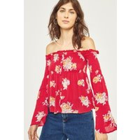 Pins & Needles Floral Smocked Off-The-Shoulder Button-Through Top, Red
