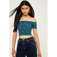 Pins & Needles Picnic Bardot Blue Floral Off-The-Shoulder Top, Blue