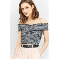 Pins & Needles Gingham Cross-Shoulder Shirred Top, Black & White