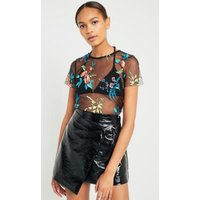 Light Before Dark Neon Floral Embroidery Mesh T-Shirt, Black