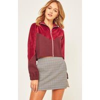 Light Before Dark Velour Funnel Neck Track Jacket, Maroon