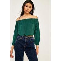 Pins & Needles Bardot Off-The-Shoulder Batwing Top, Green