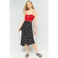Pins & Needles Floral Asymmetrical Ruffle Midi Skirt, Black