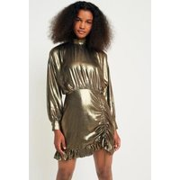 Pins & Needles Metallic Gold Ruched and Ruffled Dress, gold