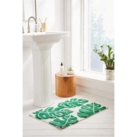 All-Over Palm Bath Mat, Green