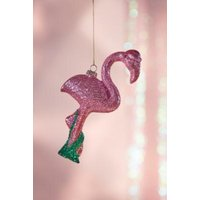 Glitter Flamingo Christmas Ornament, Pink