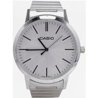 casio silver stainless steel watch, silver