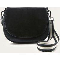Black Suede Top Saddle Bag, Black