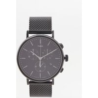 timex fairfield chronograph black mesh watch, black