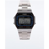 casio silver retro digital watch, silver