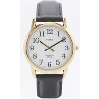 timex black leather gold case watch, black