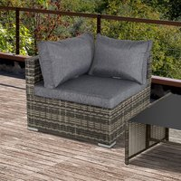 Outsunny PE Rattan Wicker Corner Sofa Garden Furniture Single Sofa Chair w/ Cushions, Deep Grey