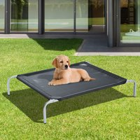 PawHut Elevated Pet Bed Portable Camping Raised Dog Bed w/ Metal Frame Black (Small)