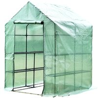 Outsunny Walk in Greenhouse W/ Shelves, M size-Dark Green