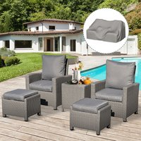 Outsunny 5 Pieces Outdoor PE Rattan Patio Furniture Set Lounge Sofa Footstool Cooler Bar Coffee Table Conversation Set with Olefin Cushion