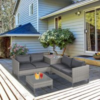 Outsunny 4 PCs PE Rattan Wicker Sofa Set Outdoor Conservatory Furniture Lawn Patio Coffee Table w/ Side Storage Box and Cushion, Grey