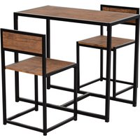 HOMCOM Steel Frame MDF 2-Seater Bar Stool and Table Set Wood Tone