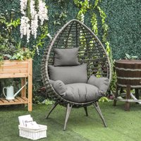 Outsunny Outdoor Indoor Rattan Egg Chair Wicker Weave Teardrop Chair with Cushion
