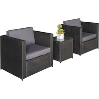 Outsunny 3 Pcs Rattan Sofa Furniture Set W/Cushions, Steel Frame-Black