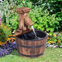 Outsunny Wood Barrel Pump Patio Water Fountain Water Feature Electric Garden