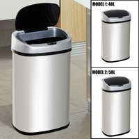 HOMCOM Sensor Dustbin Touchless Trash Can Automatic Garbage Stainless Steel 48L / 58L
