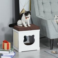 PawHut Wooden Cat House Bed Cat Scratching Cube for Small Cat Pet Furniture with Removable Scratching Pad and Soft Cushion White