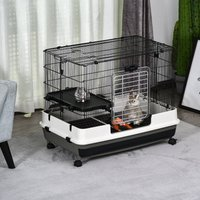 PawHut Rolling Small Animal Cage Rabbit Guinea Pig Hutch Pet Play House with Platform, Ramp,Removable Tray